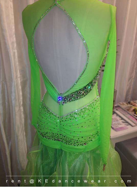 BALLROOM DRESS RENTAL – Lime Green (ID#230)