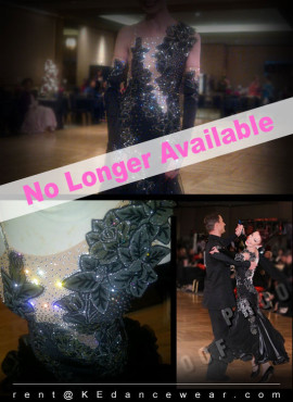 BALLROOM DRESS RENTAL – Black (ID#229)