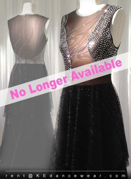 BALLROOM DRESS RENTAL – Black (ID#225)