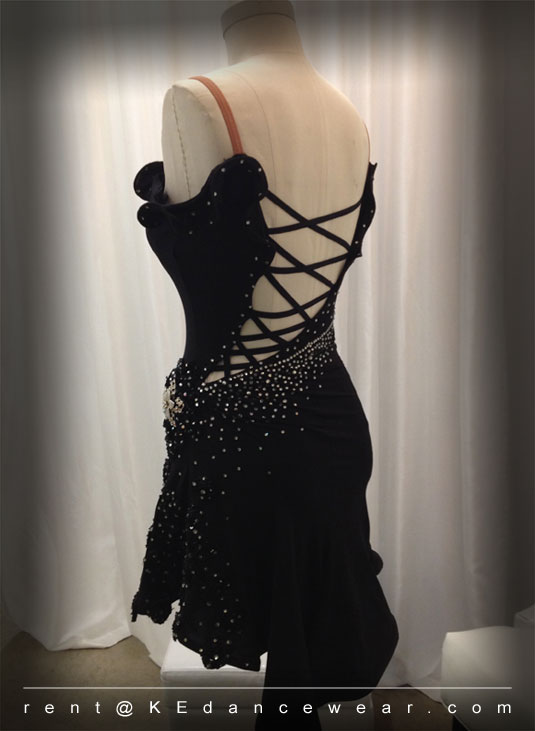 BALLROOM DRESS RENTAL – Black (ID#302)