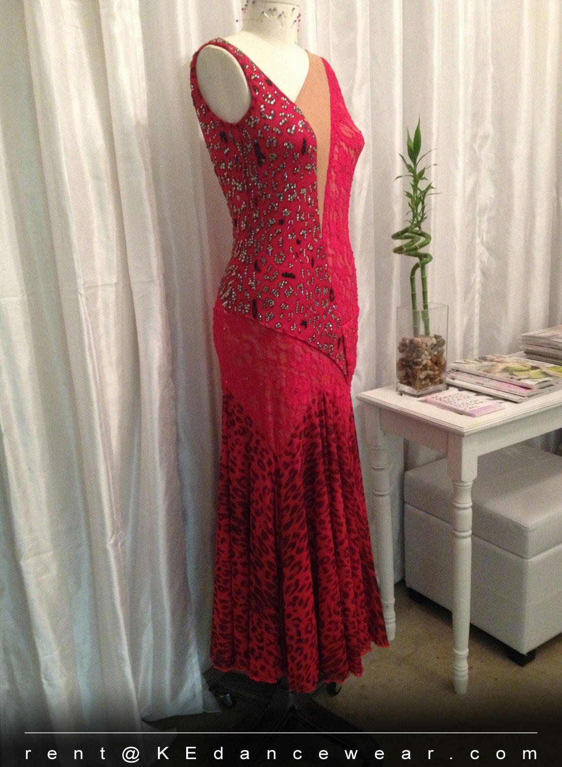BALLROOM DRESS RENTAL – Red Lace (ID#246)
