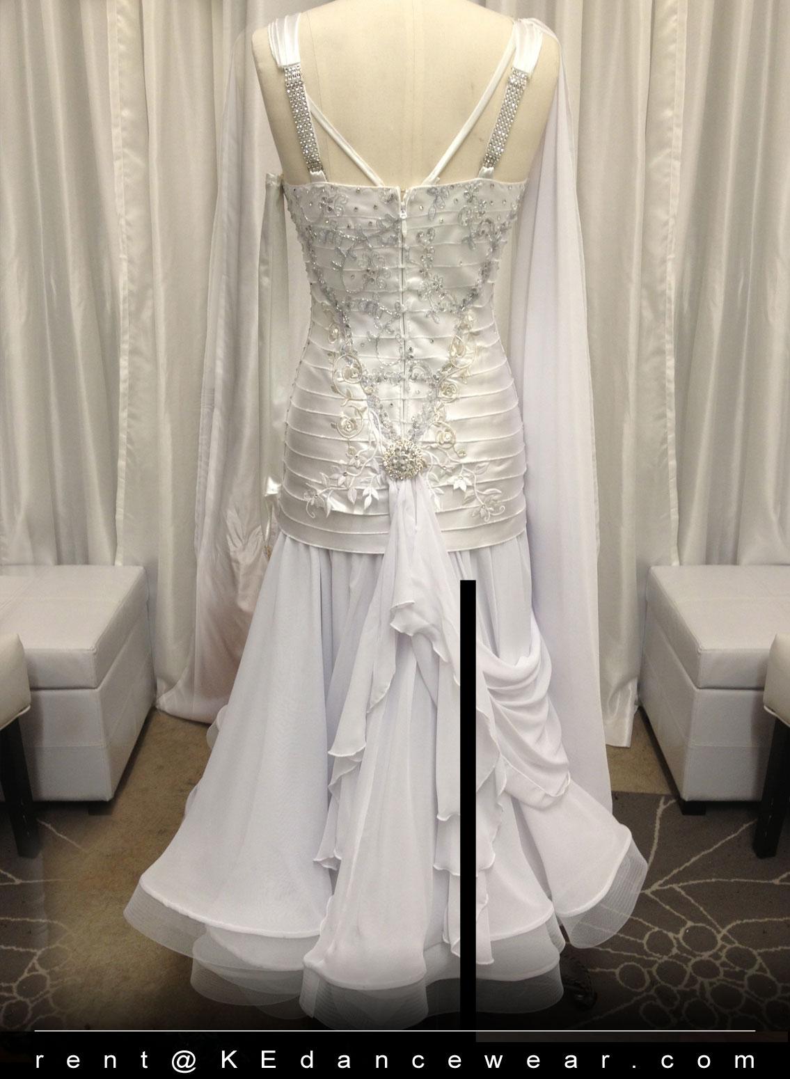 BALLROOM DRESS RENTAL – White (ID#245) | KE Dancewear
