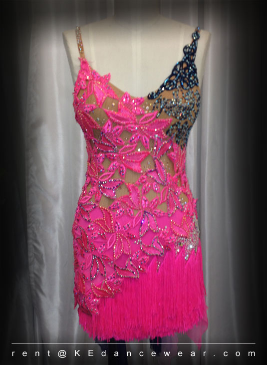 BALLROOM DRESS FOR SALE ONLY- Pink/Navy (ID#307) | KE Dancewear