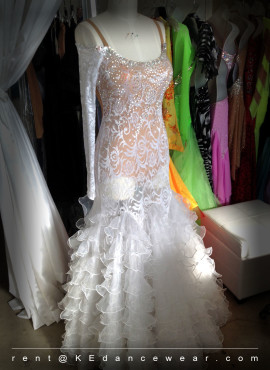BALLROOM DRESS RENTAL – White (ID#266)