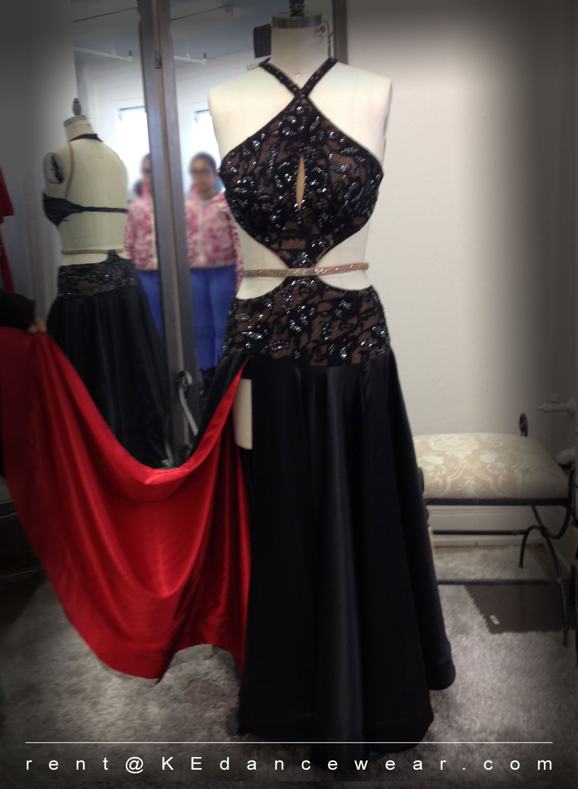 BALLROOM DRESS RENTAL – Black/Red – Paso Doble (ID#276)