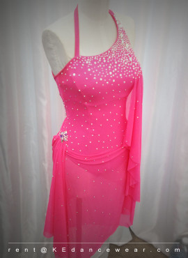 BALLROOM DRESS RENTAL – NEON PINK (ID#399)