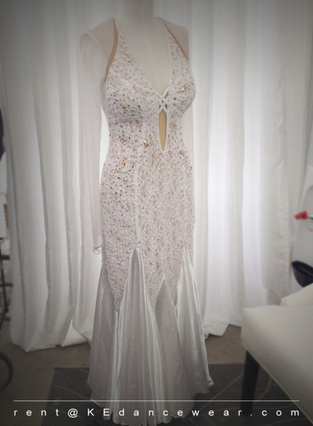 BALLROOM DRESS RENTAL – White/Gold (ID#299)